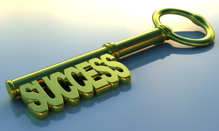 A golden key that leads to success. 3D rendering with raytraced textures and HDRI lighting.